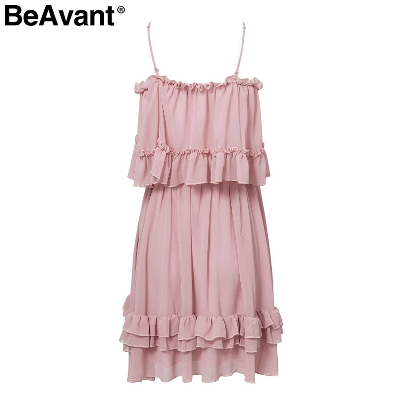 HTB1gRGGaLfsK1RjSszgq6yXzpXay - BeAvant Off shoulder strap chiffon summer dresses Women ruffle pleated short dress pink Elegant holiday loose beach mini dress