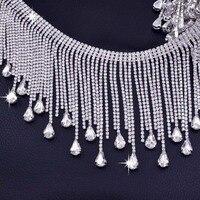5 yards Very Luxury Crystal glass Rhinestone tassel Drops trim for Wedding Dress chain Decoration Good quanlity Sew on Appliques
