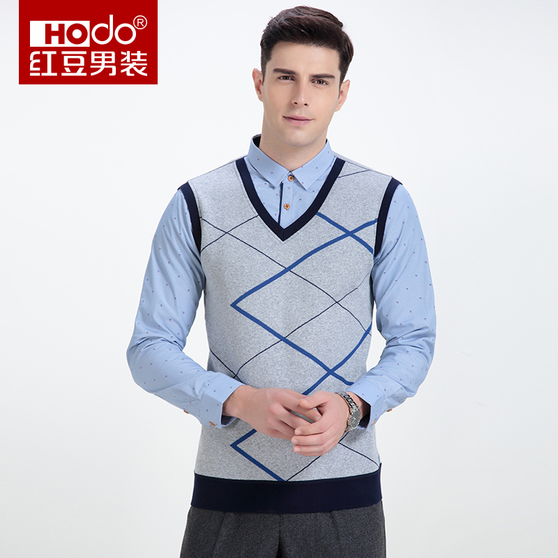 Hodo Mens Knitted Vests British Style Men Shirt Social Men -7488