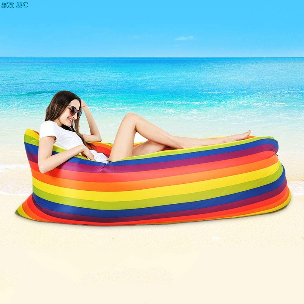 Portable Inflatable Lazy Sofa Bed Waterproof Rainbow Light Sleeping Bag Tear Resistance Camping Bed Adult Beach Lounge Chair
