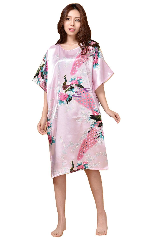 Plus Size Pink Summer Womens Robe Bathrobe Sleepwear New chinese Female Rayon Bath Gown Nightgown Sleepshirts Mujer Pijama 002