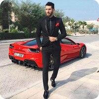 Custom Made Black Mens Suits Wedding Plus Size Man Tuxedos Bridegroom Suit Shawl Lapel Smoking Masculino Costume Homme 2Piece