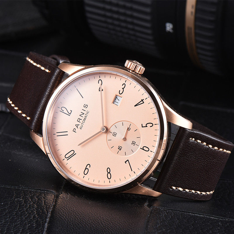 42mm Parnis Rose Golden dial Leather Strap Date Crystal Stainless Steel Rose Golden Plated Case Automatic movement Mens Watch