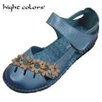 New Retro Handmade Folk Style Women Flats Genuine Leather Soft Bottom Casual Shoes Mother Fashion Sandals