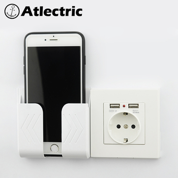 Atlectric 16A EU Russia France Socket Power Outlet Dual USB Port Wall Adapter Charging 2A Wall Charger Adapter USB Socket 3 colors smart home best dual usb port 2000ma wall charger adapter 16a eu standard electrical plug socket power outlet panel