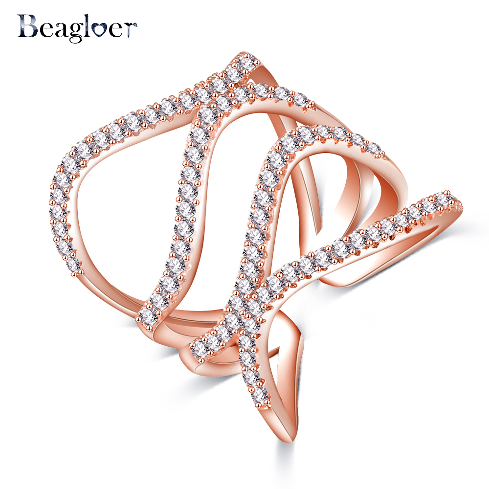 Beagloer Special Design Double Waves Rings Delicate Ring Rose Gold Color Jewelry Twist Ring For Women CRI1033