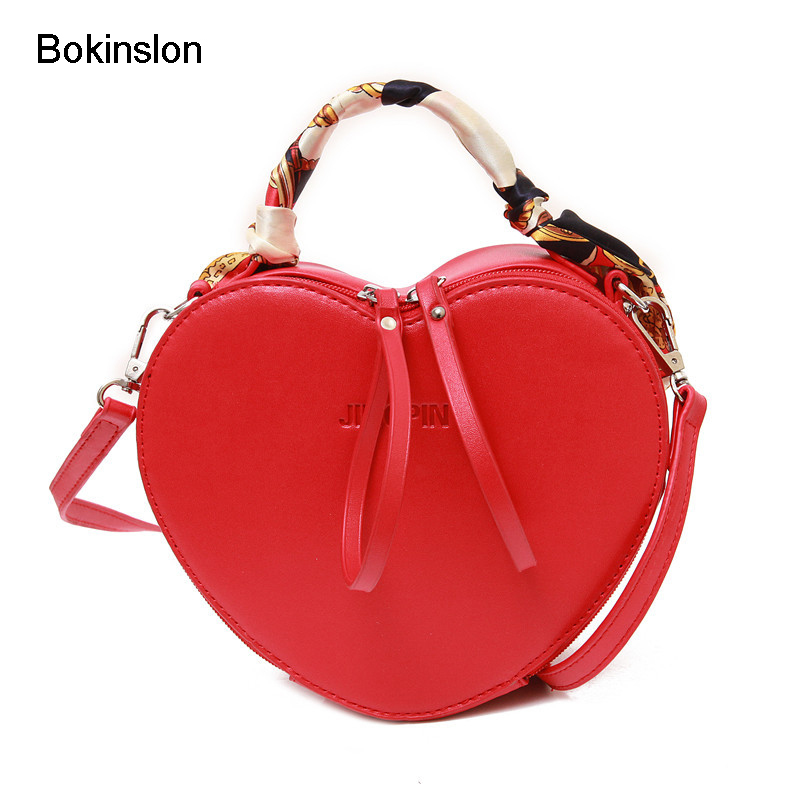 Bokinslon Heart Shape Bags For Girls PU Leather Solid Color Woman Crossbody Bag Fashion Popular Individuality Hangbags Ladies aidocrystal heart shape factory direct sell fashion woman diamond clutch for lady