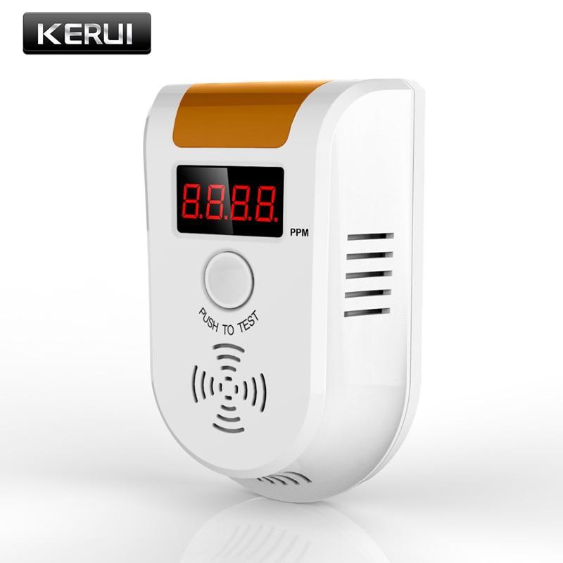 KERUI Independent LED Digital Display Combustible Gas Sensor Detector Alarm Gas Warning Alarm Sensor EU Plug
