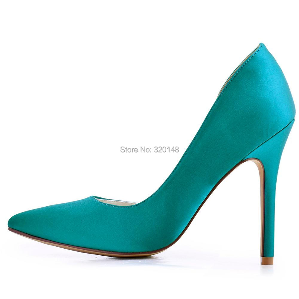 Women Teal High Heel Wedding Shoes Pointy Toe D\'orsay Satin Ladies ...