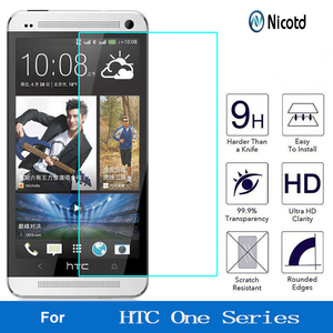 Image 1 - Nicotd 9H מסך מגן מזג זכוכית עבור HTC Desire 510 610 626 עבור HTC אחד M7 M8 M9 M10 e8 X9 A9 E9 בתוספת מגן סרט