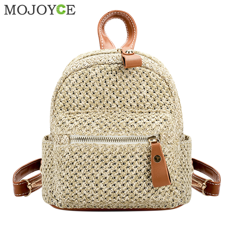 Brand Fashion Straw Backpack Women Rucksack Bohemian Beach Mini Shoulder Bag Solid School Bags for Teenager Girl Travel Backpack women backpack 2016 solid corduroy backpack simple tote backpack school bags for teenager girls students shoulder bag travel bag