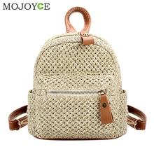 Brand Fashion Straw seljakott Naiste seljakott Bohemian Beach Mini õlakott Solid School kotid teismeliste Girl Travel seljakott