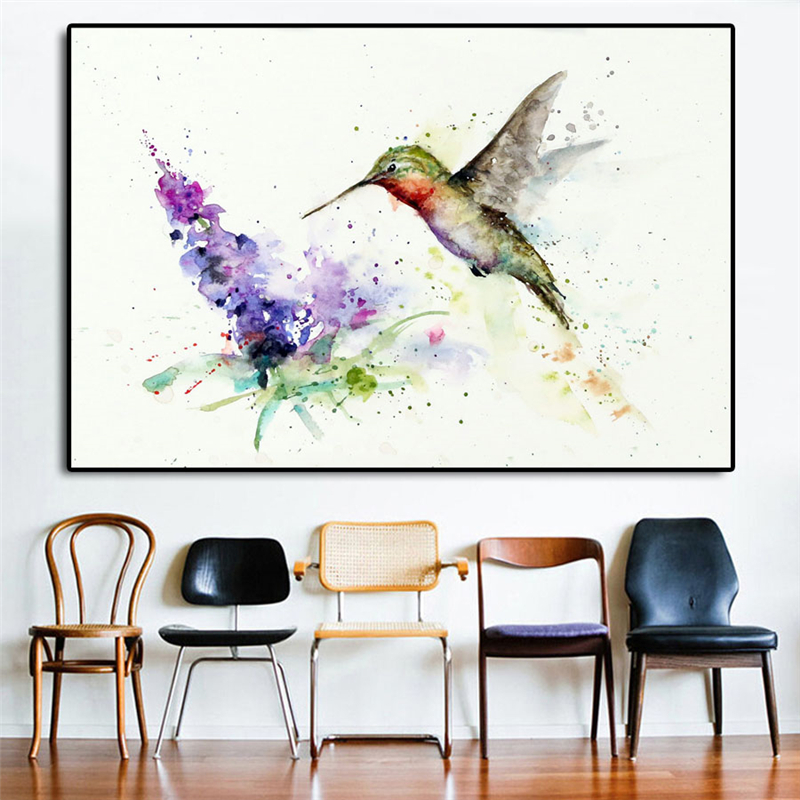 Us 5 7 Off Hummingbird Erfly Bush Watercolor Wall Art Canvas Posters Prints Painting Pictures For Bedroom Home Decor Accessories In