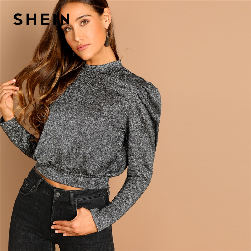 360911bc9d59 Detail Feedback Questions about SHEIN Grey Mock Neck Wide Hem Solid Tee  Highstreet Elegant Stand Collar Long Sleeve Pullover 2018 Autumn Casual  Women Tshirt ...