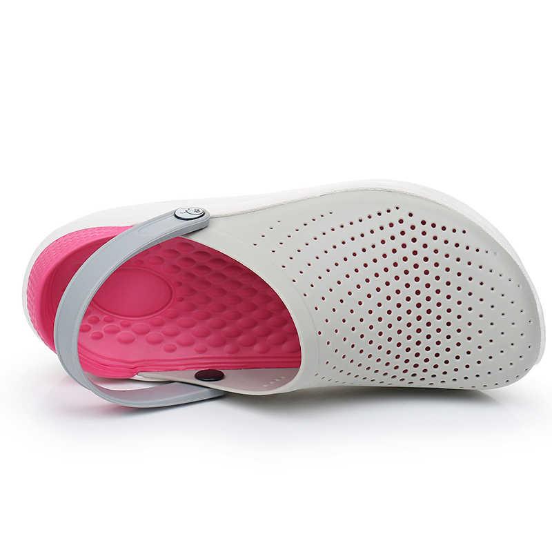 Mới Crocks Adulto Đựng Quần Áo Giày Sandal Nữ Crocse Giày Croc EVA Nhẹ Unisex cho Bãi Biển Mùa Hè LiteRide Hồng Size Lớn 4-11