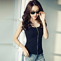 New Women Casual Basic Summer T-shirt Solid Top Shirt Black blusas Sexy Party Fold Fashion zipper sleeveless Plus Size