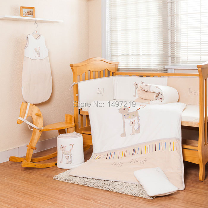 gender neutral crib baby bedding set cute cat design with pillow sham and insert ph078 free shipping