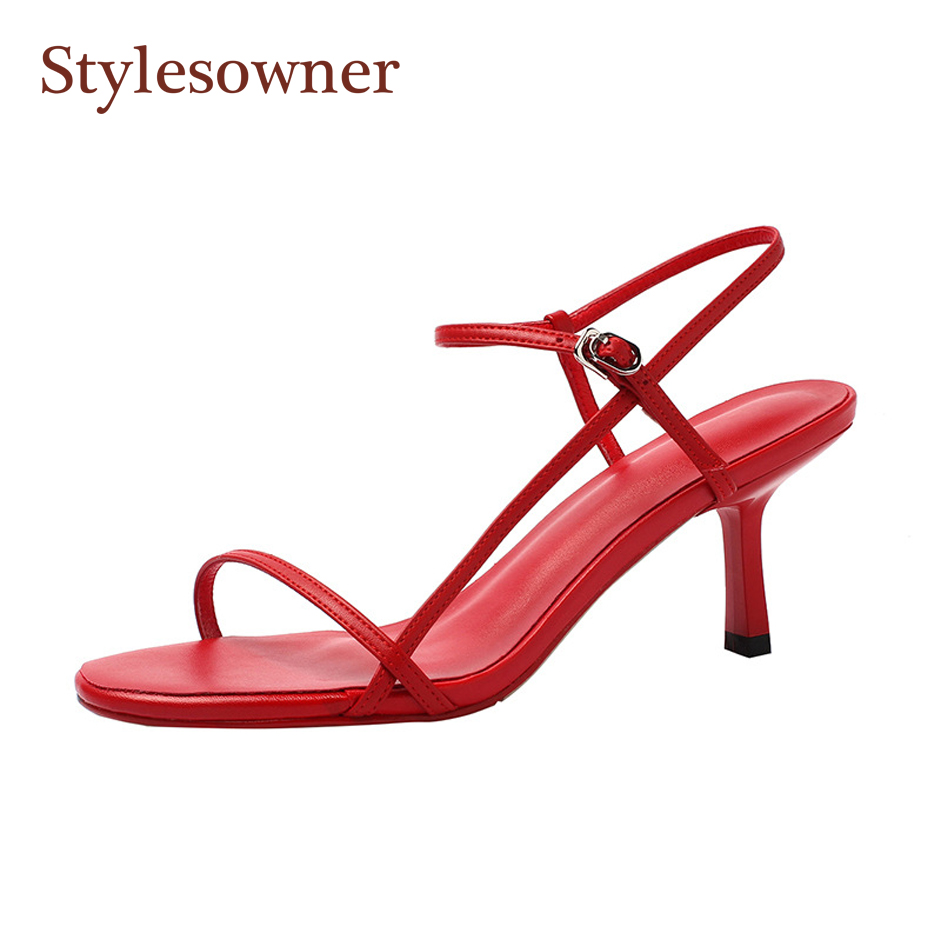 Stylesowner 20119 Trendy Skinny Belt Sandal Shoe Open Toe Stable Coloration 7cm Skinny Heel Ankle Strap Consice Girl Cool Sandalias Excessive Heels, Low-cost Excessive Heels, Stylesowner 20119 Trendy Skinny...