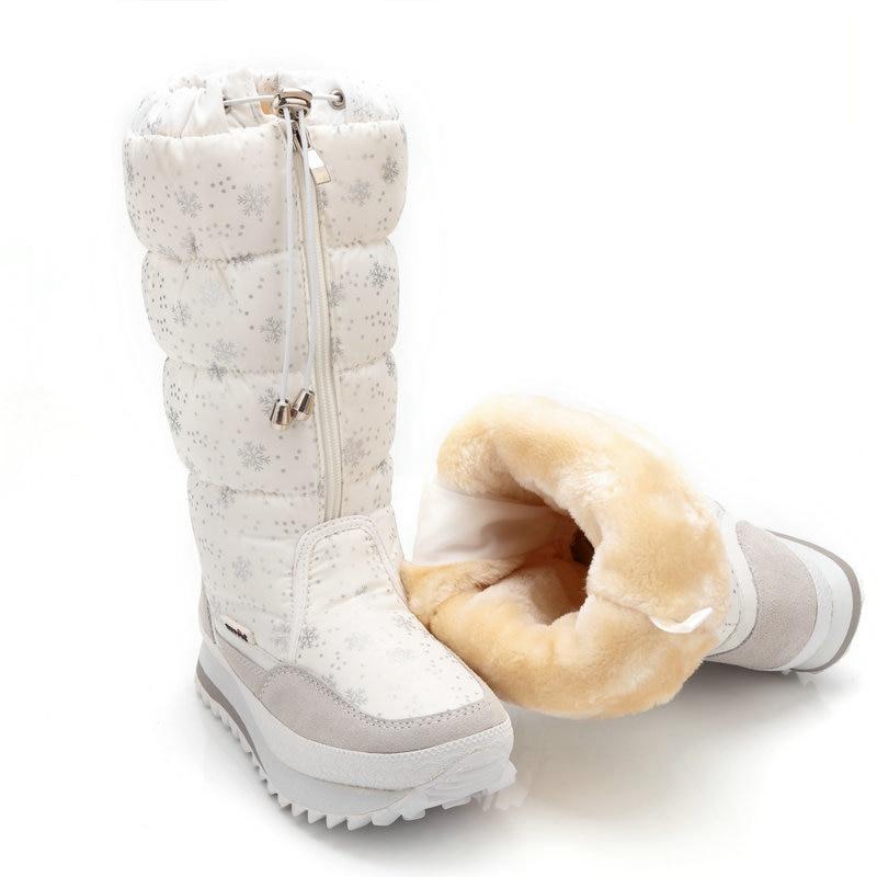 ФОТО Size 35-43 Fashion Women Boots Plush Warm Snow Boots Ladies Winter Ankle Boots Waterproof Zipper White Colour Snow Flower Botas