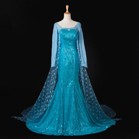 Free shipping adult halloween FROZEN dress ELSA princess blue long sleeve cos performance role playing stage dress for women
