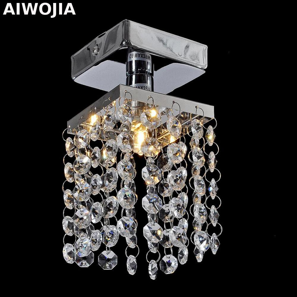 modern single LED gold crystal chandeliers lights lamps aisle high power Crystal Ceiling Light