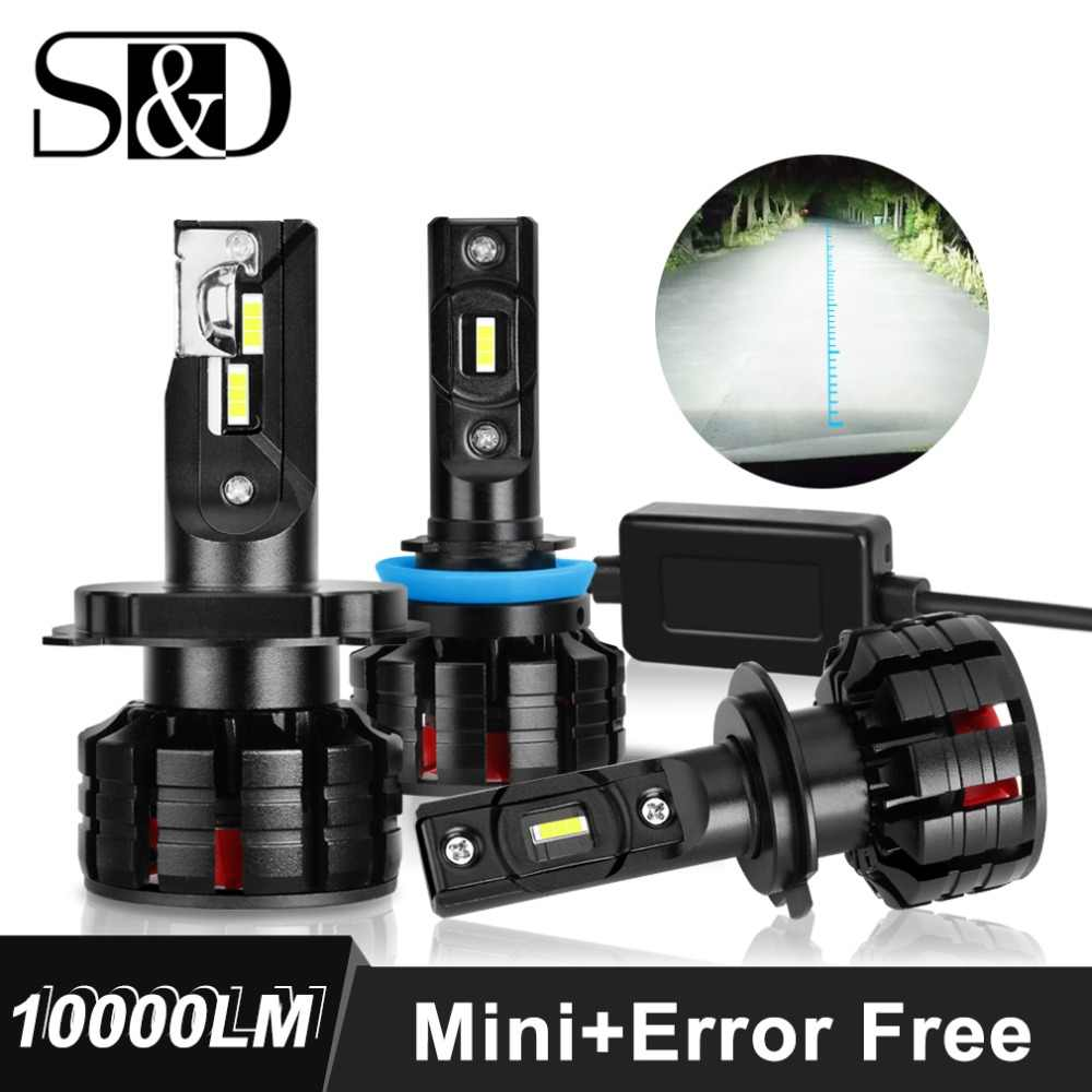 2 Pcs Mini Canbus H4 H7 LED Car Headlight Kit 100W 10000LM H1 H3 H11 9005 HB3 9006 HB4 H8 H9 6500K Bulbs Auto Headlamp Fog Light