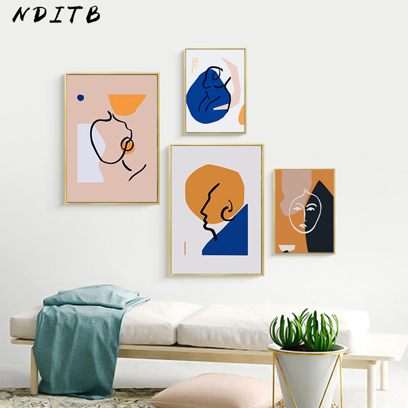 Geometric Art Canvas Poster Abstract Woman Wall Painting Print Minimalist Nordic Decoration Picture Scandinavian Home Decor interior design