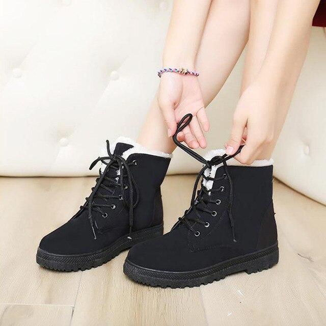 Botas de neve 35-42 ankle boots inverno mais mulheres do tamanho sapatos de neve 2016