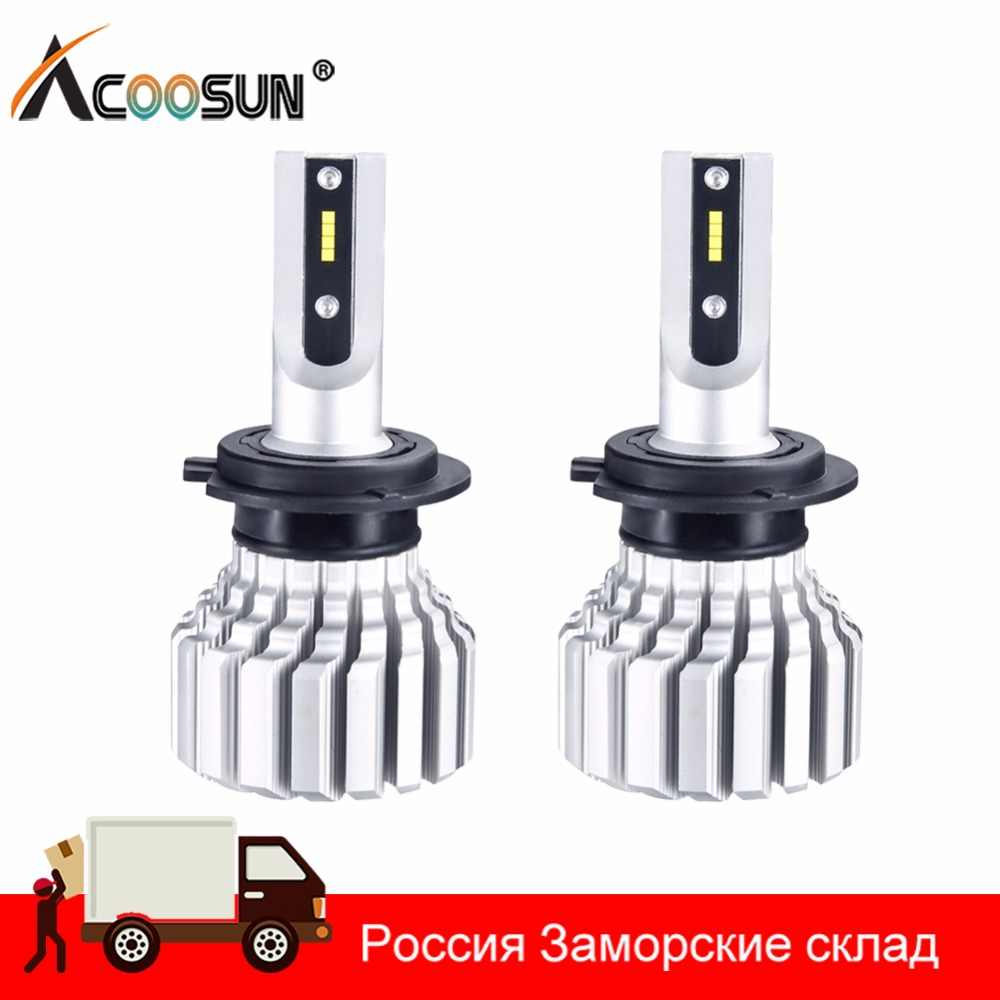 AcooSun H4 H7 Led Bulb Car Headlight Fanless H11 9006 9005 10000LM H15 12V 72W luces Led para auto H1 bombillas Led Canbus Lamp