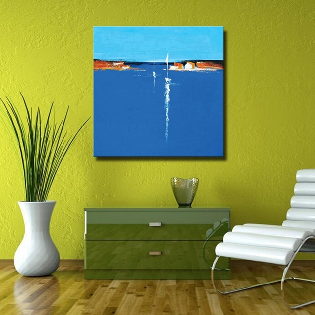 Blue Abstract Seascape Oil Paintings Hand Painted Landscape Canvas Painting For Dining Room Decor Unframed