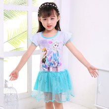 hot Baby Girls Dresses For Girls gift cartoon snow queen Girl Clothes elsa anna pattern Princess Kids Vestidos Birthday Dress(China)