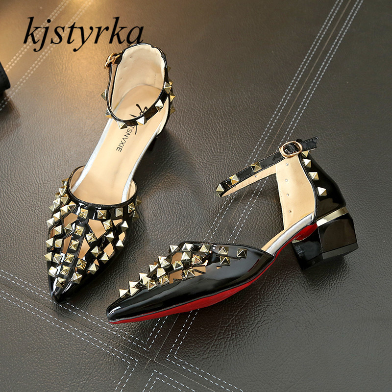 kjstyrka 2018 New Summer Style womens low high heels Pointed Toe famle fashion rivet Shoes Word buckle Woman Sexy ladies Shoes