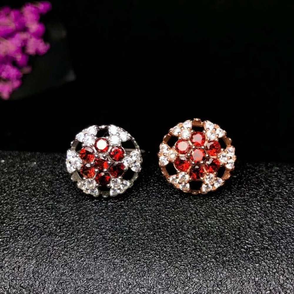 SHILOVEM 925 สีแดงโกเมนแหวนเปิดอินเทรนด์ขายส่ง Fine ผู้หญิงวันเกิดของขวัญใหม่ 4*4 มิลลิเมตร yhj040402ags