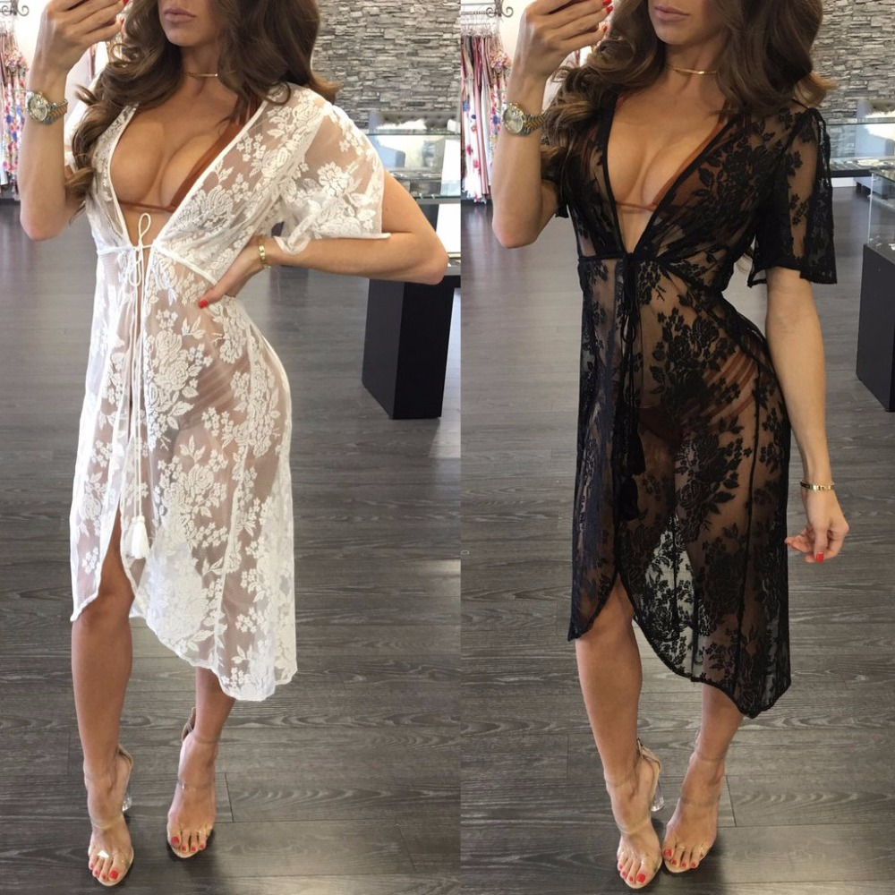 Women Long Lace Sexy Cardigan Nightgown Loose Lace Robe Female Night Skirt Half Sleeve  2018 Spring New Ladies Robe Homedress