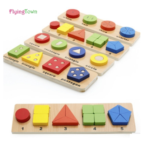 FlyingTown Wooden Colorful Puzzles Digital Geometry shape matching Educational Toy Kids Children Toys Gifts