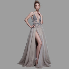 Deep V-Neck Side Split Evening Dress 2019 Backless Sparkly High Slit See Through Abendkleider Lang robe de soiree Party Dress недорого