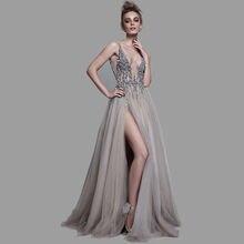 Вечернее платье с глубоким v образным вырезом и Боковым Разрезом