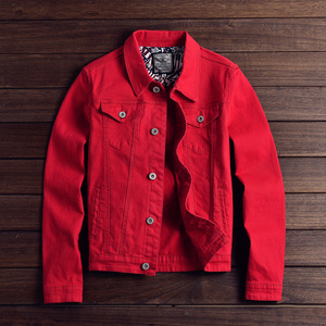 Image 1 - Fashion Mens Denim Jackets Slim Fit Spring Autumn Jeans Jacket Pink Red Turn Down Collar Outwear Size M 3XL