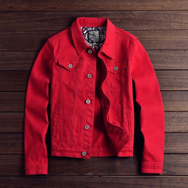 Fashion Mens Denim Jackets Slim Fit Spring Autumn Jeans Jacket Pink Red Turn Down Collar Outwear Size M 3XL