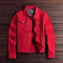 Moda masculina denim jaquetas ajuste fino primavera outono jeans jaqueta rosa vermelho turn down collar outwear tamanho M 3XL