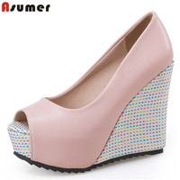 Asumer 2017 Spring Autumn New Arrive Women Pumps Elegant Ladies Wedges Shoes Fashion Peep Toe Leisure