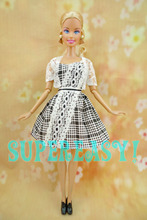 3 in 1 Retro British Style Dress Tartan With Lace + Waistcoat + Black Low Heel Shoes Clothes For Barbie Doll 1/6 Puppet Outfit