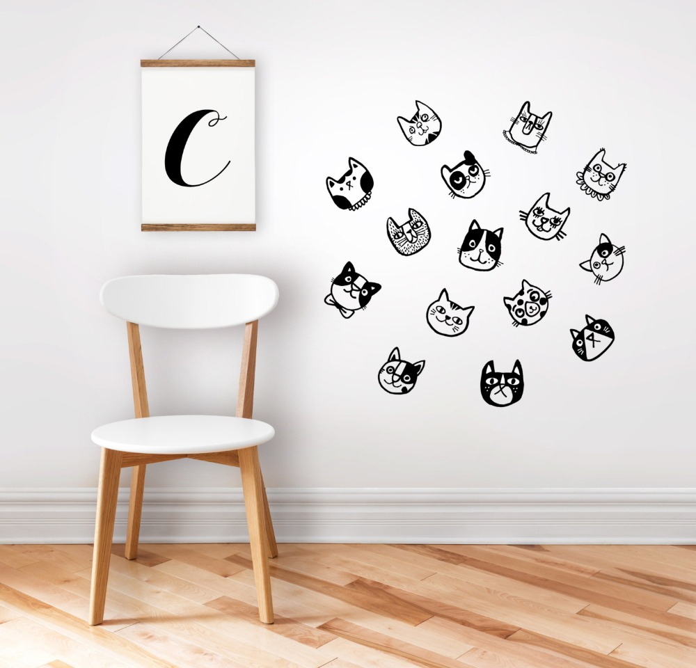 15pcs elegance cats wall stickers for kids room removable black vinyl wall art baby decals 3d cheap elegant furniture