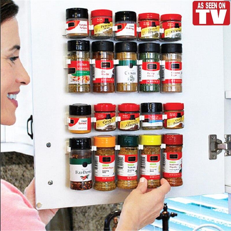 4PCS/SET 20 Cabinet Clip N Store Home Kitchen Organizer Stick Spice Rack Storage Gripper Holder Kitchen Gadgets Cooking tools