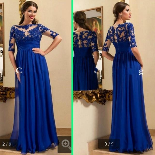 Azul Royal Mãe da Noiva Vestidos de Renda para Casamentos Vestidos de uma Linha com Mangas Meia Chiffon Noivo Madrinha Pant ternos