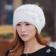 Kagenmo 2018 women's winter hat thick winter cap mother's rabbit headgear autumn