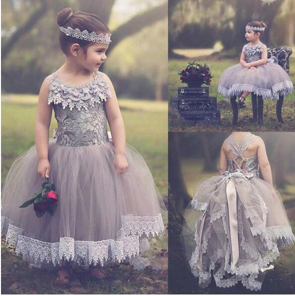 Vintage New Girls First Communion Dress Custom Made Flower Girls Dresses Gray Lace Applique Tulle Any Size 2017