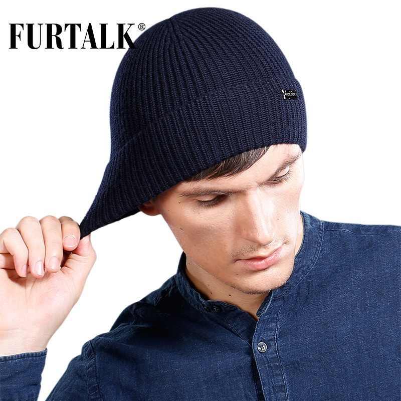 87658198790 FURTALK 100% Wool Cashmere Men Winter Hat Knit Skullies Beanies Hats Male  HTWL096