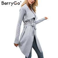BerryGo Knitted Cardigan Female Coat Sash Elastic Cardigan Winter Sweater Women Jumper Soft Casual Sweater Pull