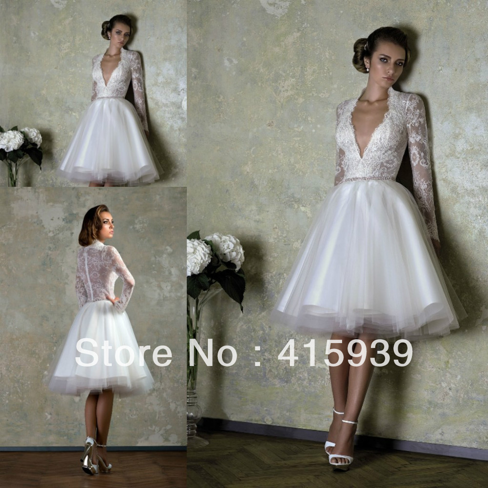 Free Shipping High Quality Short Knee Length Low Cut Back See Through Lace Wedding Dresses For Bride HS122 In From Weddings Events On